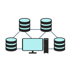 Database network icon flat vector