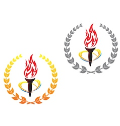 Flaming torches in laurel wreathes vector image vector image