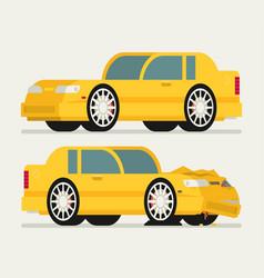 flat car vehicle before and after car crash road vector image