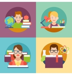 Flat education student pupil kid parent teacher vector image
