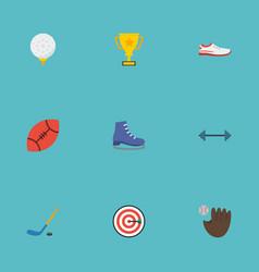 Flat icons kettlebells american football puck vector