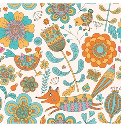 Foral seamless pattern with fox hen chicken vector