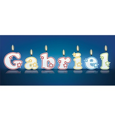 Gabriel written with burning candles vector