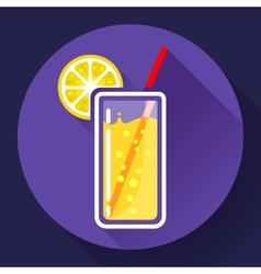 glass of juice with lemon icon flat 20 design vector image vector image