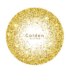 Gold glitter circle frame background vector