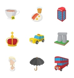 Holiday in United Kingdom icons set cartoon style vector image
