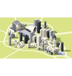 Isometric low poly La Defense district map vector image