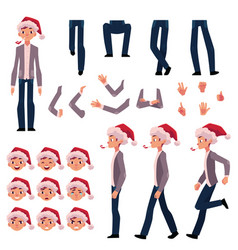 Man in santa hat character creation set vector