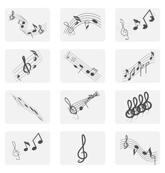 monochrome icon set with treble clef and notes vector image