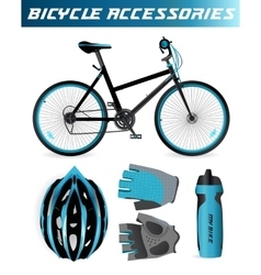 Mountain bike with bicycle accessories helmet vector
