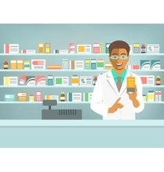 Pharmacist black man with medicine in pharmacy vector