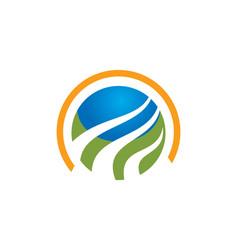 Round globe technology logo vector