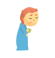 Sick boy character with flu wrapped in a blanket vector