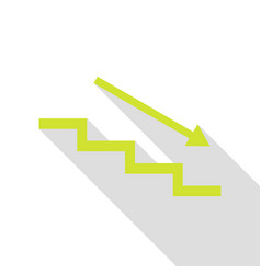 Stair down with arrow pear icon with flat style vector