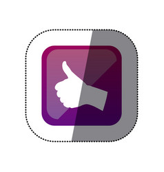 sticker color square with hand signal ok vector image vector image