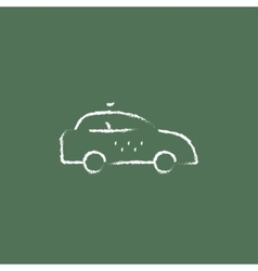 Taxi car icon drawn in chalk vector image