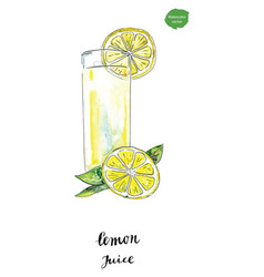 watercolor glass of summer lemon juice vector image