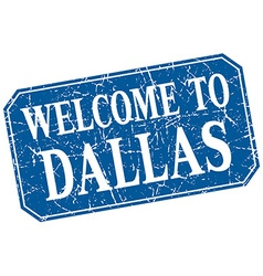 Welcome to dallas blue square grunge stamp vector