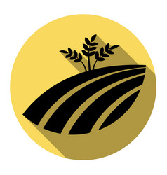 Wheat field sign flat black icon with vector