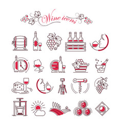 wine accessory winemaking icons glass vector image