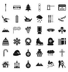 Winter decoration icons set simple style vector