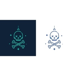 Linear style icon of skull with crossbones vector