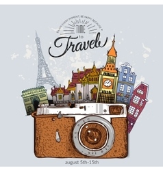 Travel photo background with retro camera vector