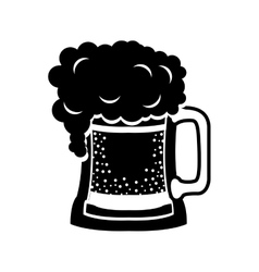Black silhouette beer mug drink vector