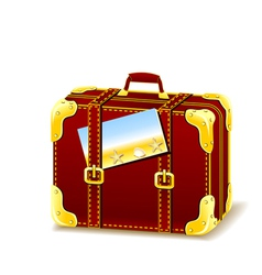 Suitcase for summer isolated with flyer vector