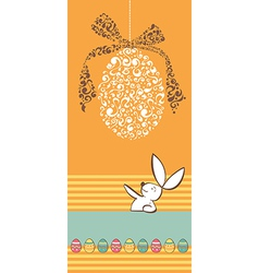 Tribal egg Easter rabbit background vector image