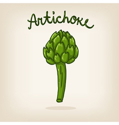 cute hand drawn shiny artichoke vector image