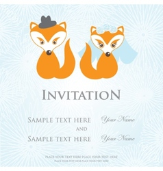 Hand drawn love wedding fox couple on background vector