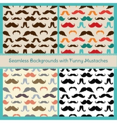 Hipster mustaches seamless patterns vector