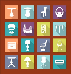 Design furniture icons set interior- vector