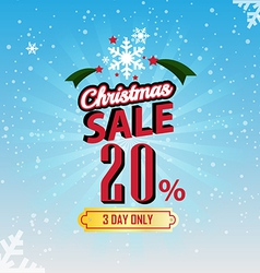 Christmas Sale 20 Percent typographic background vector image