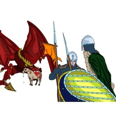 Dragon and knights vector