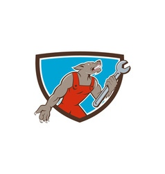 Wolf mechanic spanner shield cartoon vector