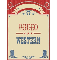 American cowboy rodeo poster for text vector