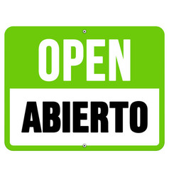 Abierto sign in black and green vector
