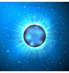 Abstract sphere of electronic circuitry vector