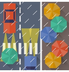 Autumn city rain a top view Flat style vector image vector image