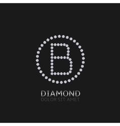 B letter with diamonds vector