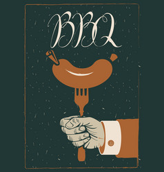 barbecue banner with sausage on fork in hand vector image vector image