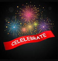 celebrations with fireworks vector image vector image
