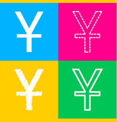 Chinese yuan sign four styles of icon on four vector