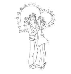 Couple in love valentines day hearts vector
