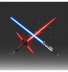 Crossed fantastic weapons in red and blue colors vector