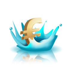 Currency water splash gold euro vector