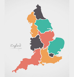 England map with modern round shapes vector