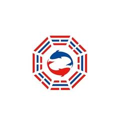 fish tao yin yang logo vector image